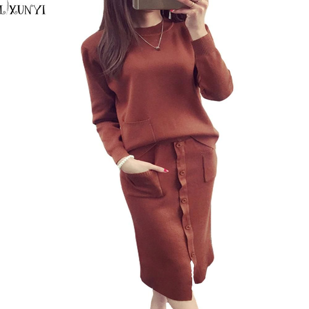 Autumn Winter Women Sweater Suit Set With Skirts Preppy Style