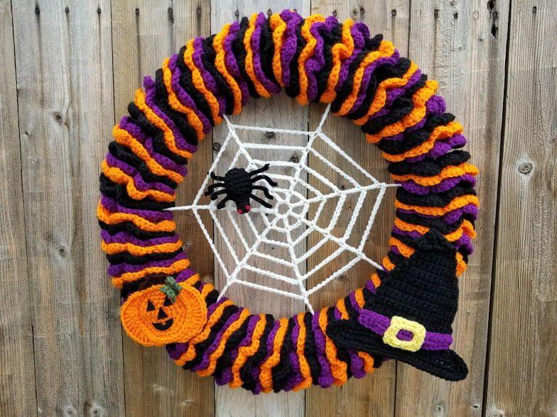 Crochet Halloween Wreath | Cesto, Ganchillo y Tejido