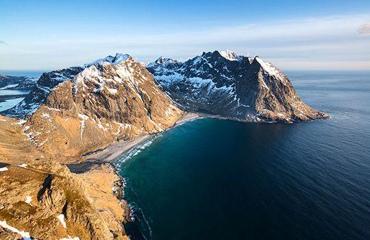 Kvalvika Beach Lofoten Islands Norway Atlantic Ocean Coast Carribean