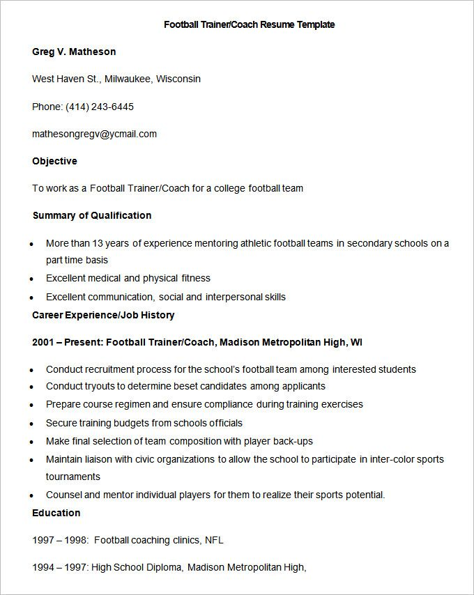 Sample Football Trainer CoacSample Football Trainer Coach Resume - it trainer sample resume