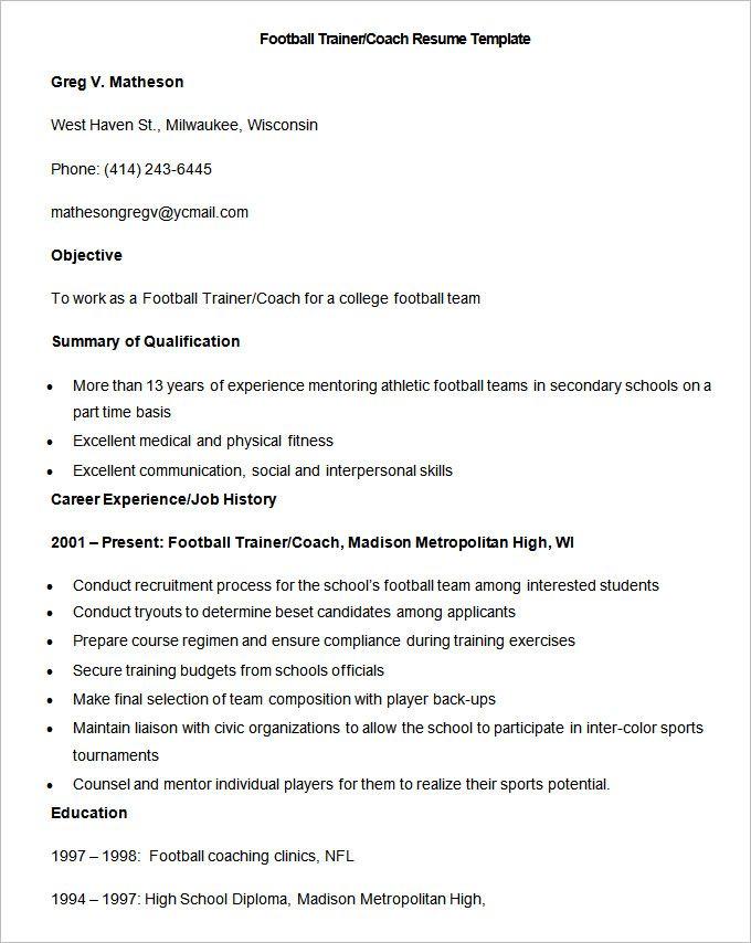 Sample Football Trainer CoacSample Football Trainer Coach Resume