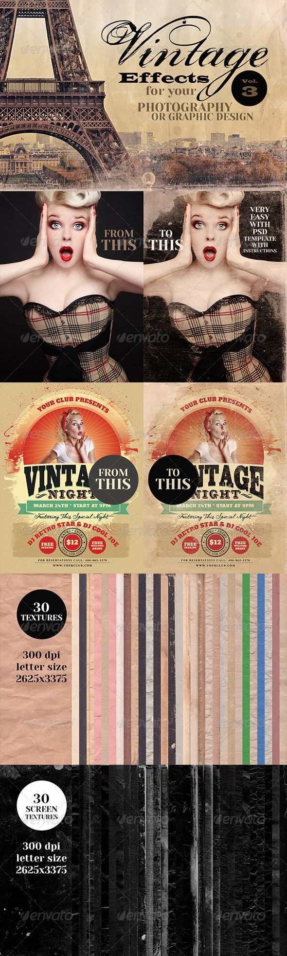 Vintage Effects for Photo, Designs 3 by cruzine2 Very easy to use vintage grunge effects for your photography or graphic designs. In this package: - 30 vintage paper and book cove