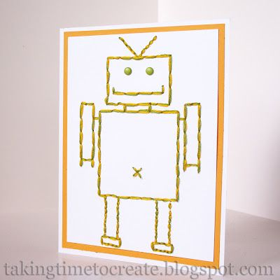 Cutest Robot Card for boys. Made using embroidery thread.