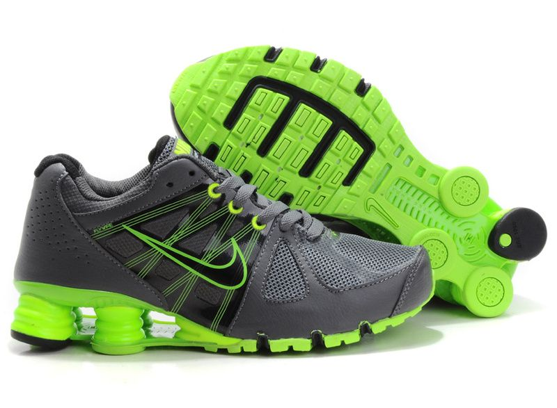 cheapshoeshub com Cheap Nike free run shoes outlet discount nike free shoes Womens Charcoal and Lime Green Nike Shox Turbo love