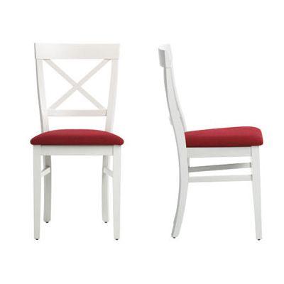 silla+cocina+madera+blanca+rojo+clasica+rustica+aspa+colonial+laca+ ...