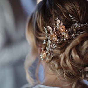 Rose Gold Floral Hair Vine Metallic Rose Gold Bridal Hairpiece Wedding Halo Blush Pink Leaf Floral Hair Comb Rhinestone Jewelry #bridalhairpiece