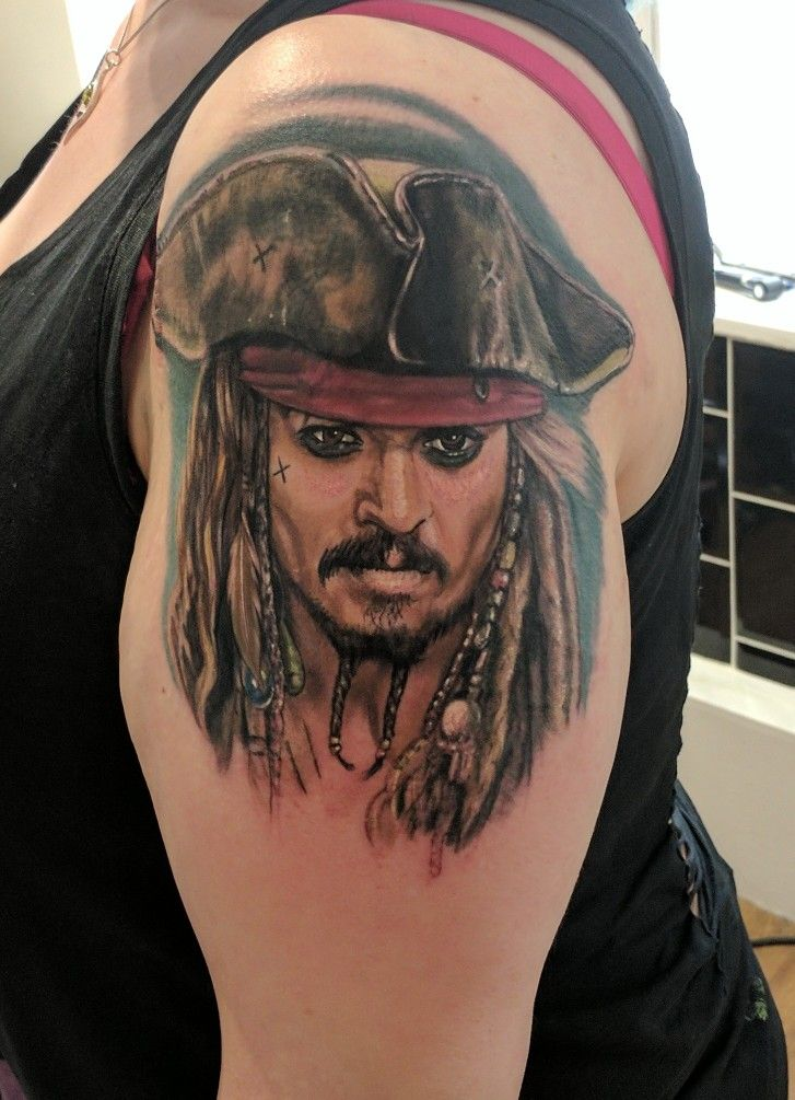 Realistic Johnny Depp Captain Jack Sparrow Tattoo Start Of My