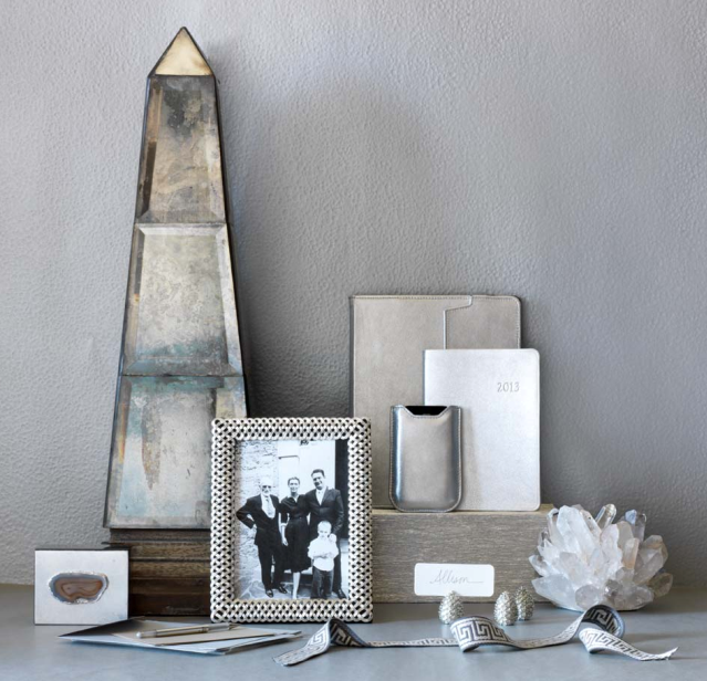 WSH♥ silver accents for your home    #williamsSonoma #silver #accent #decor #gift #obelisk #votive #frame #box #ipad cover #iphone cover