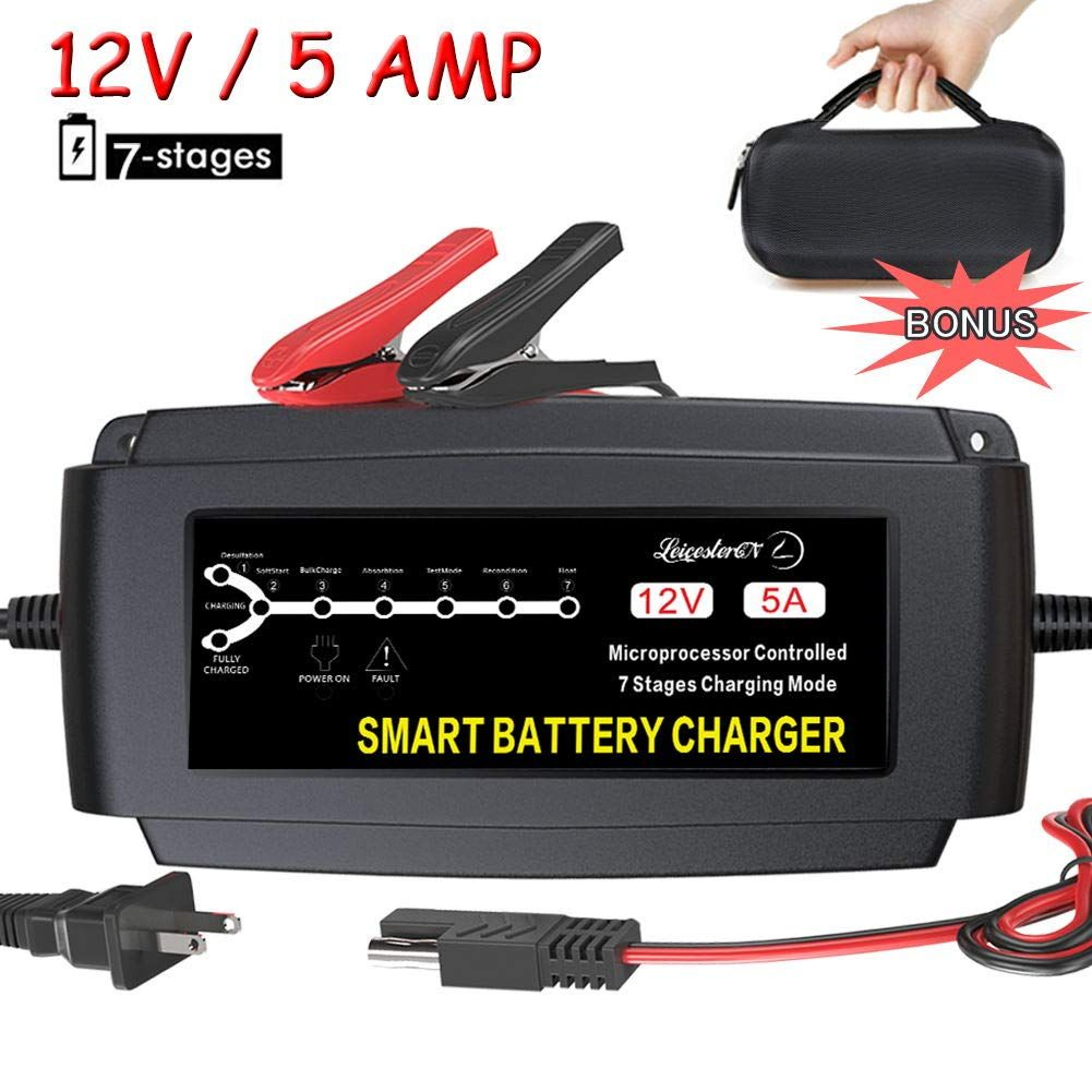 Lst 12v 5a Automatic Battery Charger Maintainer Smart Portable Deep Cycle Trickle Charger For Automotive Car In 2020 Battery Charger Automatic Battery Charger Battery