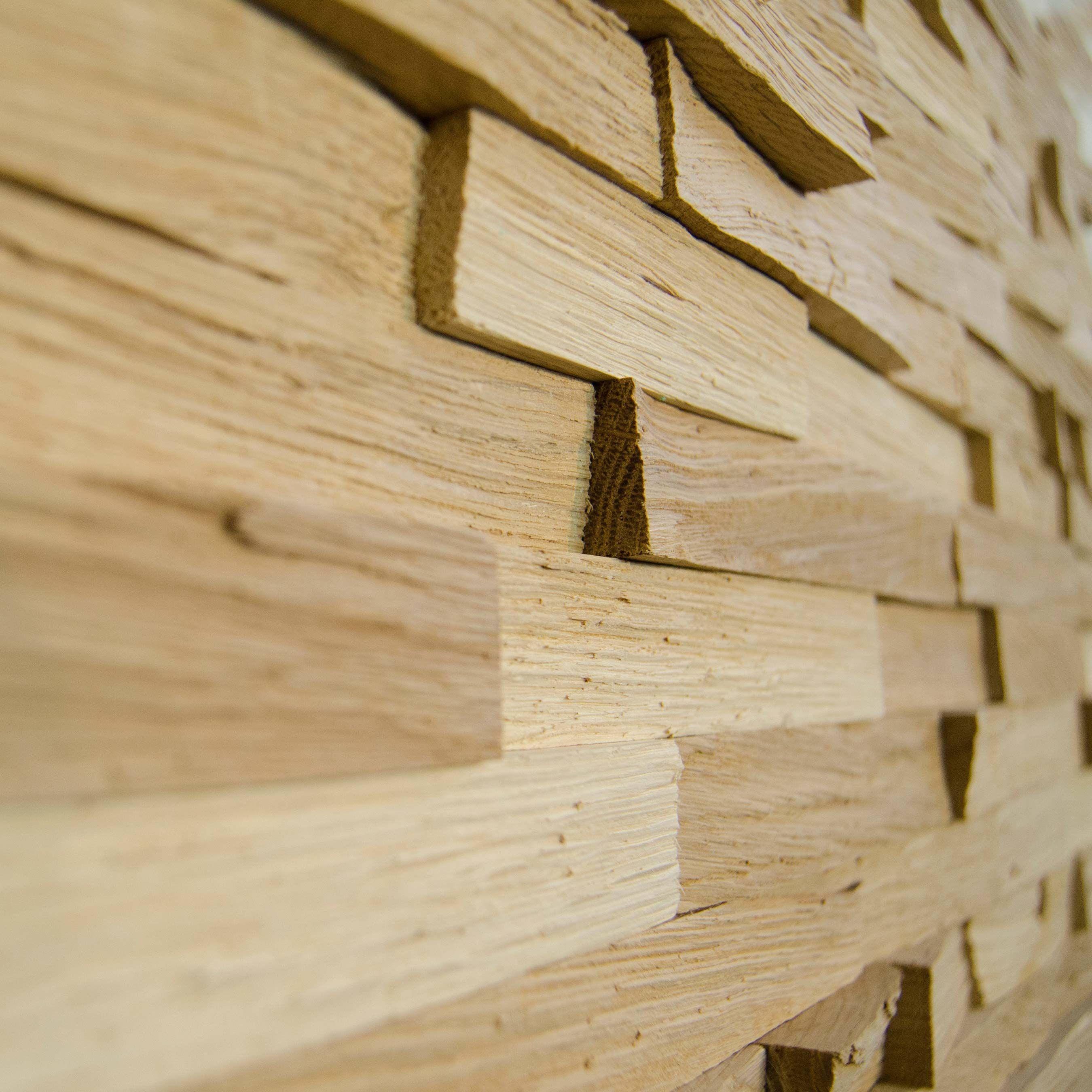 Wallure Striped - Oak - Narrow - Split - Natural Wooden Wall Panel ...