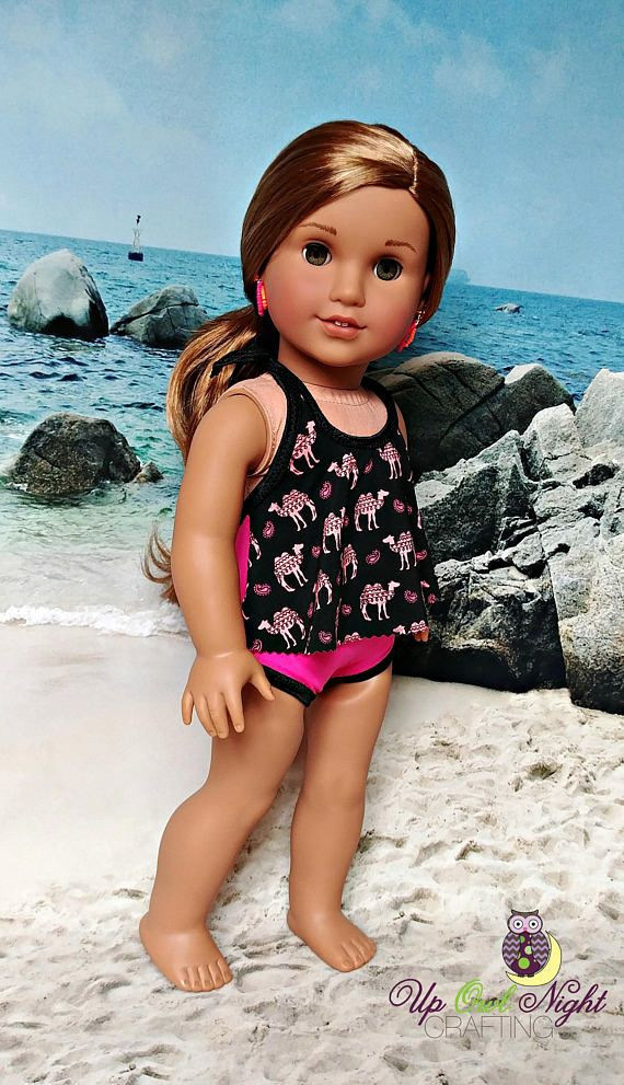 5777fcca1 Doll Swimsuit with Camel & Paisley print. Fits American Girl. Made with a  Lee & Pearl pattern