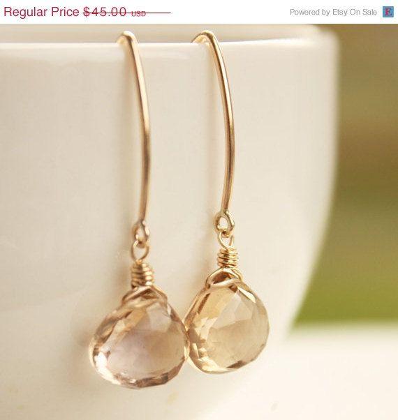 SALE Gold Champagne Citrine Quartz Earrings  Honey Drops by OhKuol