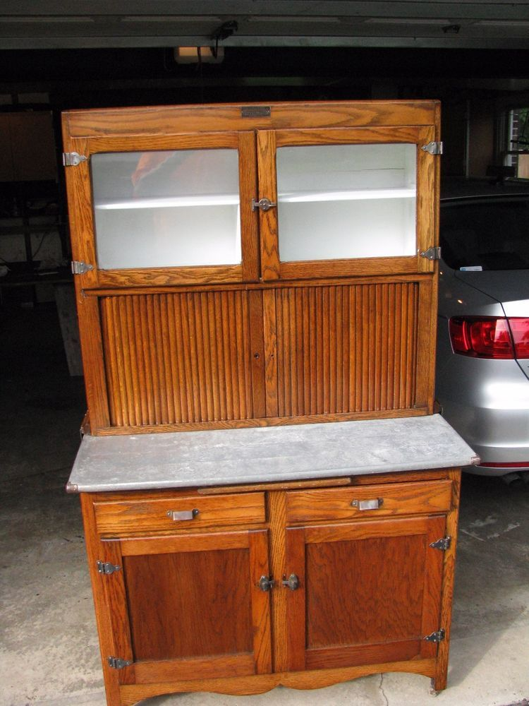 Oakwood Furniture Mfg ~ Antique hoosier cabinet oak wood mfg by greencastle