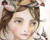She liked swallows art print