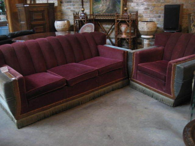 Art Deco Egyptian Revival Salon Set Couch And Chair Antique Mohair Vintage