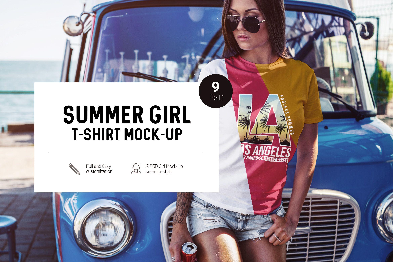 bf1917a6e94 T-Shirt Mock-Up Summer Girl by Dikarte available at DesignBundles.net  (affiliate link)