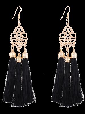 Alloy Engraved Tassel Drop Earrings - Black