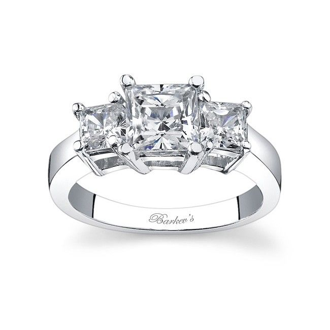 Three Stone Diamond Ring 5107lw Bold And Sophisticated Unite In This Traditional Princess Cut 3 The Simple Basket Style Setting