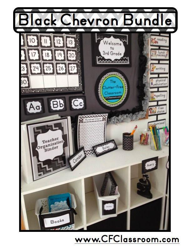 Classroom Decor Bundles : Black chevron classroom decor editable clutter free
