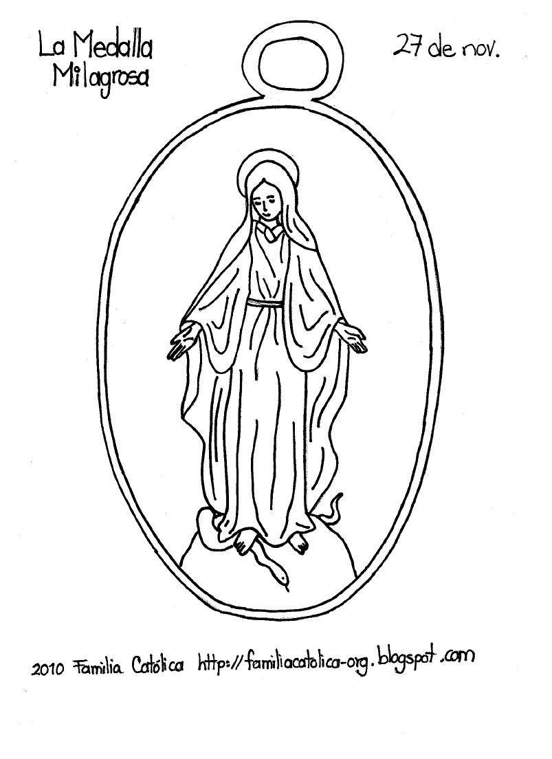 Miraculous Medal Coloring Page. (O Mary conceived without