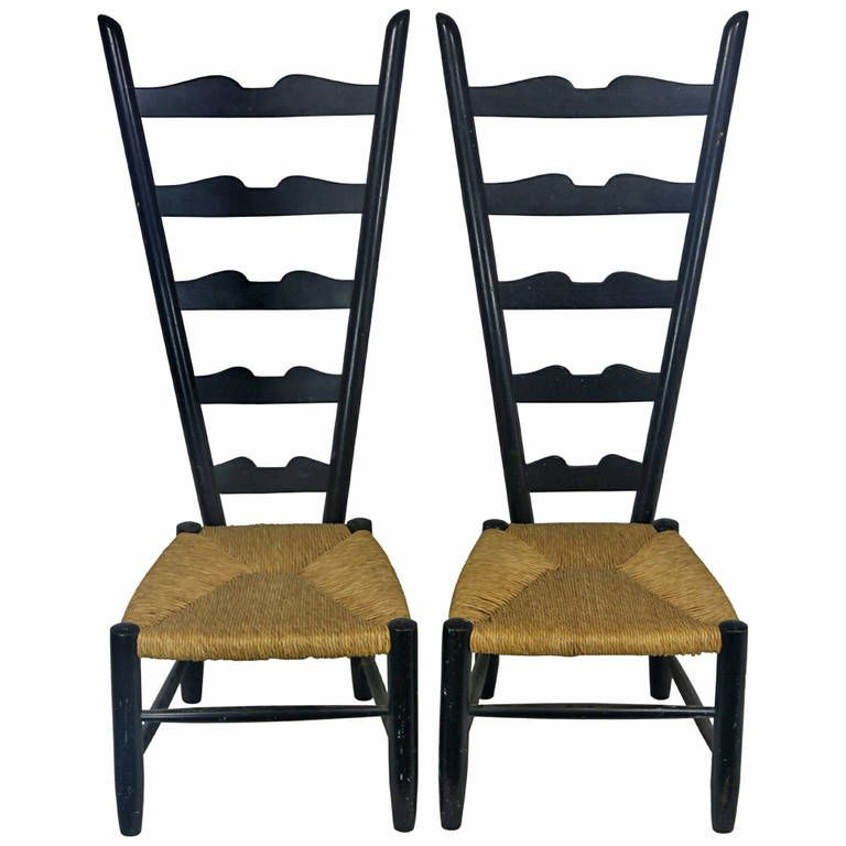 1950 high back italian chiavari fireside chairs in the manner of