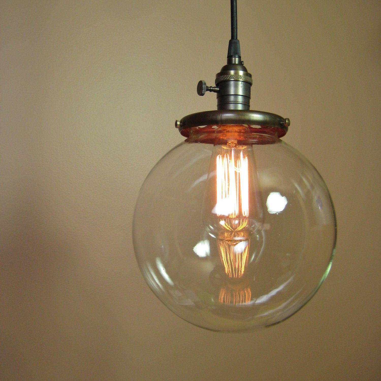 Pendant light with 8 inch clear glass globe edison light bulb pendant light with 8 inch clear glass globe edison light bulb included exposed socket aloadofball Choice Image