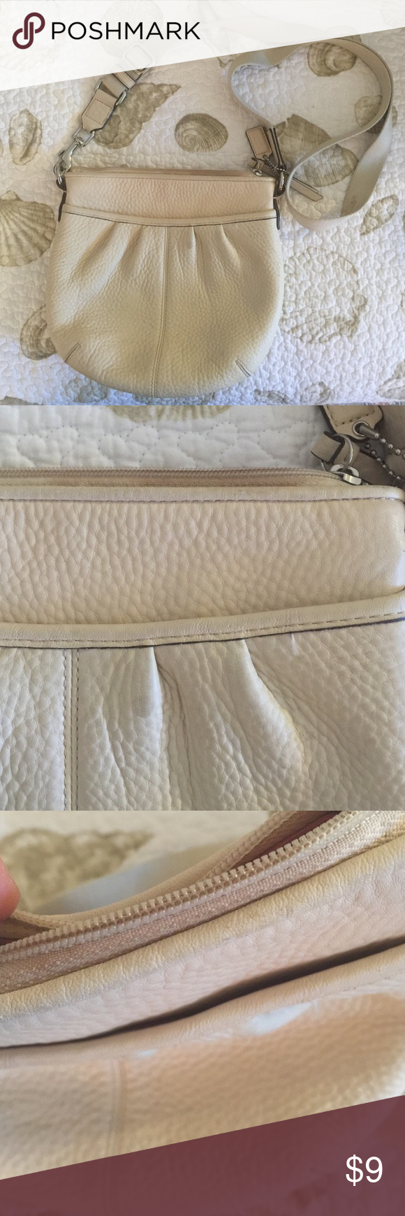 "Coach Cream/Off White Pebbled Leather Bag Slight discoloration on the front pocket and the zipper. Stains on the strap also, as seen in picture. But hugely discounted to make up for it! Bag measures 8"" at entry zipper. 9"" deep. Coach Bags Crossbody Bags"