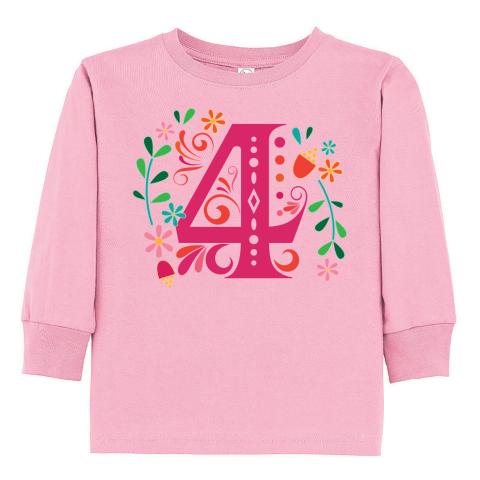inktastic 4th Birthday Pineapple Girls Toddler Long Sleeve T-Shirt