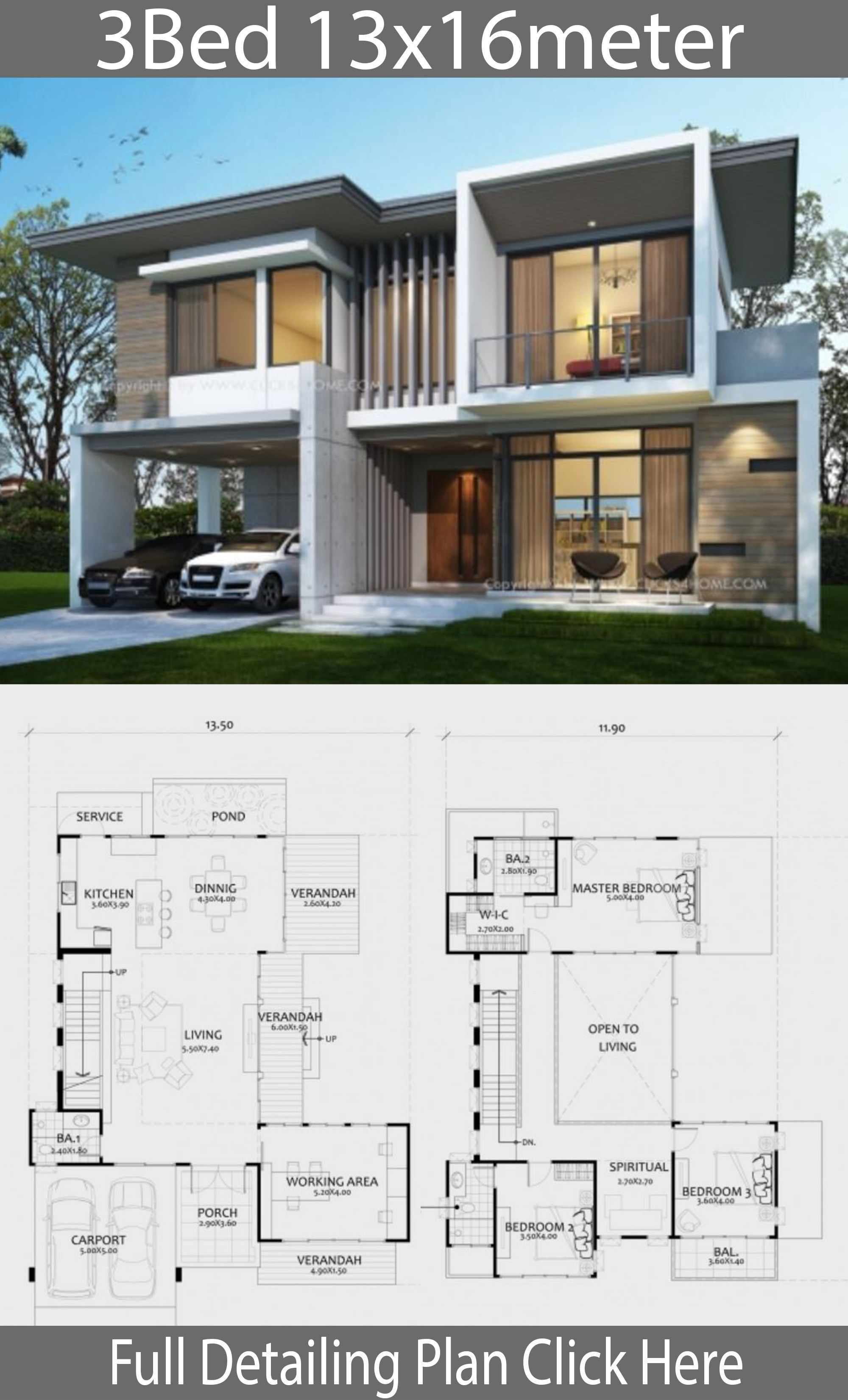 Home Design Plan 13x16m With 3 Bedrooms Home Design With Plan Beautiful House Plans Modern House Plans House Designs Exterior