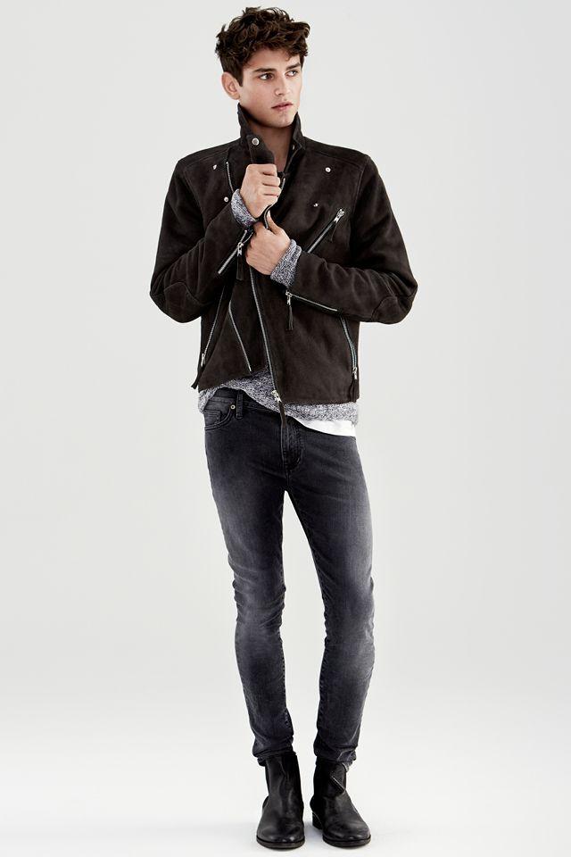 Dark Gray Suede Men S Biker Jacket Amp Black Slim Fit Jeans