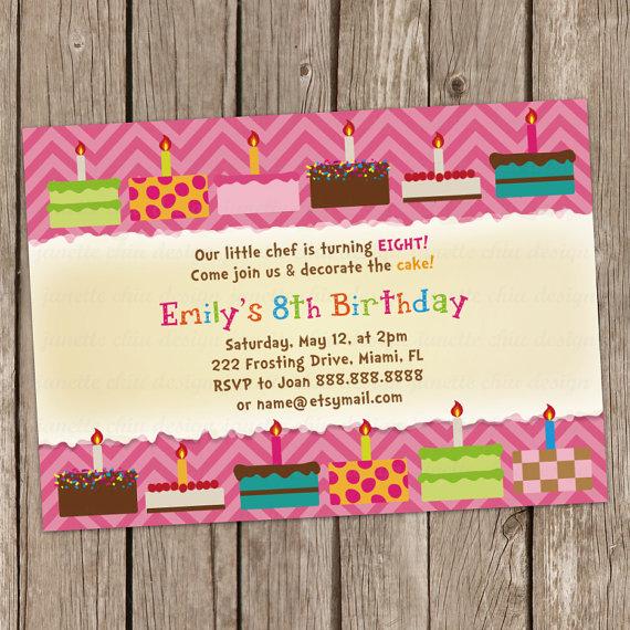 Cake decorating birthday party invitation digital printable or cake cupcake decoration birthday party invitation stopboris Image collections