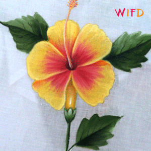 Paint A Beautiful Hibiscus Flower And Its Leafs Using Fabric Colors Flower Painting Painting Flowers Tutorial Painting
