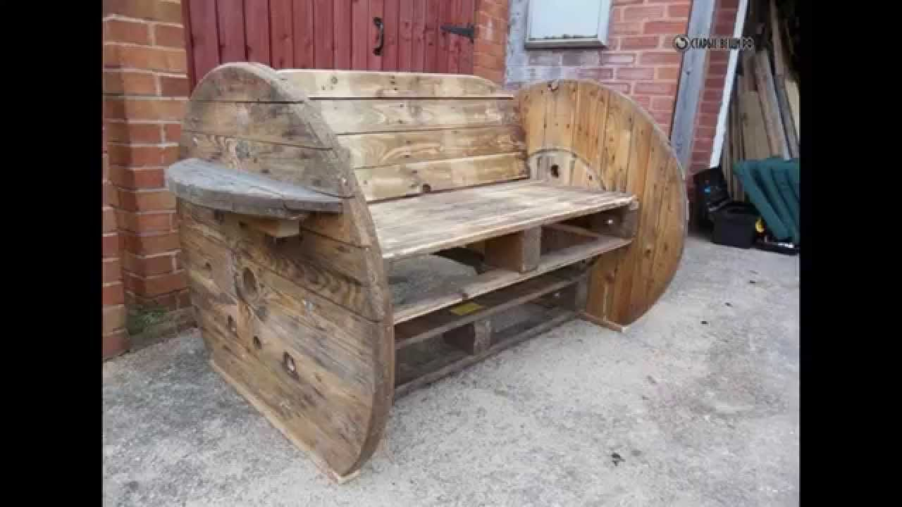 003 Pallet & cable Drum Bench in pallet furniture with Pallets Bench