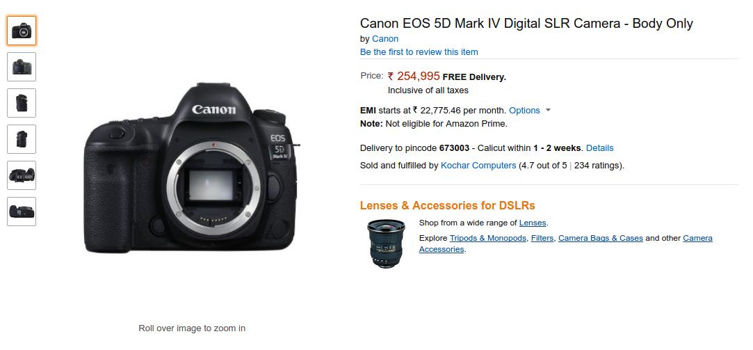 Canon EOS 5D Mark IV DSLR in Stock on Amazon India