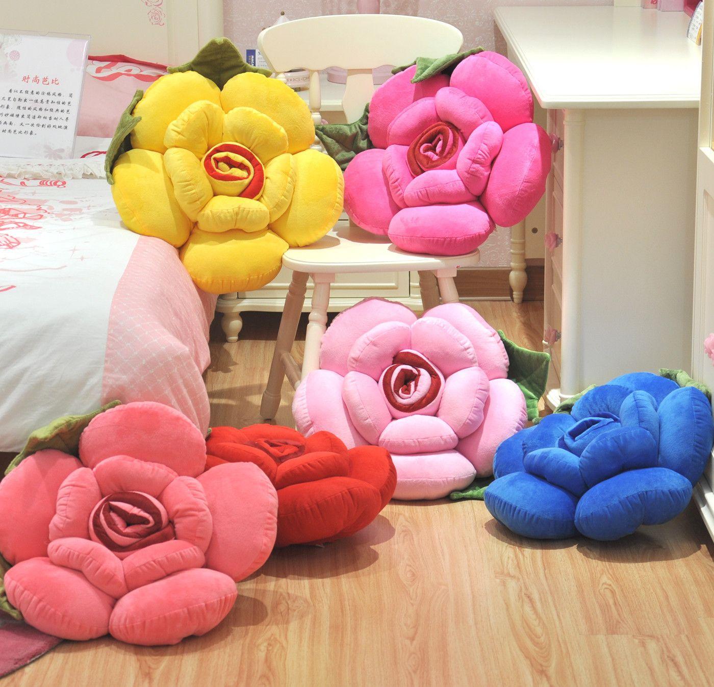 Rabbit Large rose pillow back cushion plush toy pillow birthday ...
