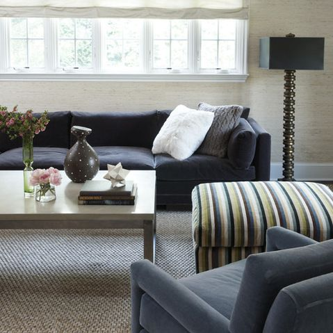 Charcoal Grey Sofa With Natural Color Sisal Rug Dark Grey Couch
