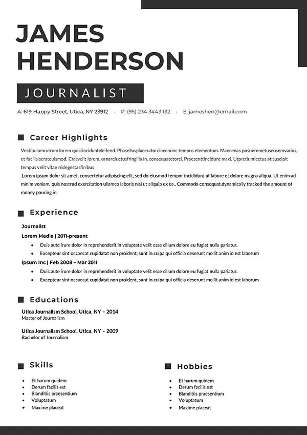 Free News Reporter Resume Template With Clean Design In 2021 Resume Template Resume Template Free Resume