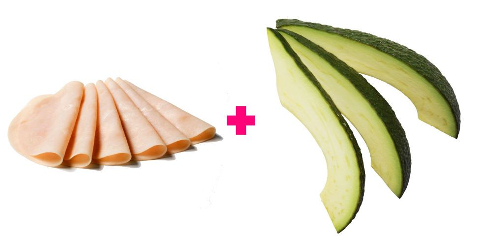 For a no-carb, protein-rich snack that slows digestion and prevents cravings later on, Minchen likes to roll up a sliver of avocado in a slice of organic lean turkey breast. If you like, add mustard for its metabolism-boosting power.