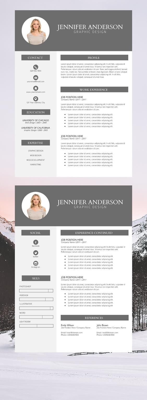 Photo Resume Instant Download, Resume Bundles, Modern ...