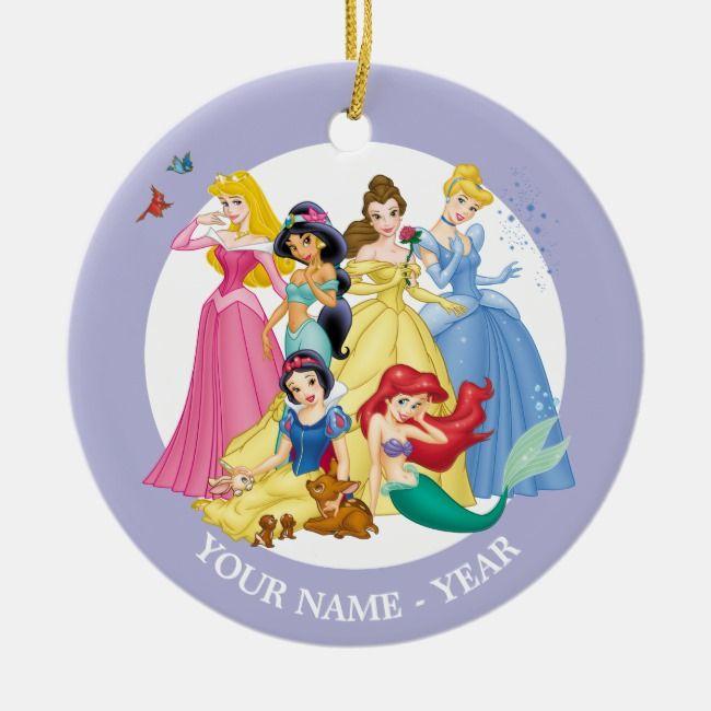 Princesses Birds And Animals Add Your Name Ceramic Ornament Zazzle Com Disney Princess Ornaments Ceramic Ornaments Disney Christmas Ornaments