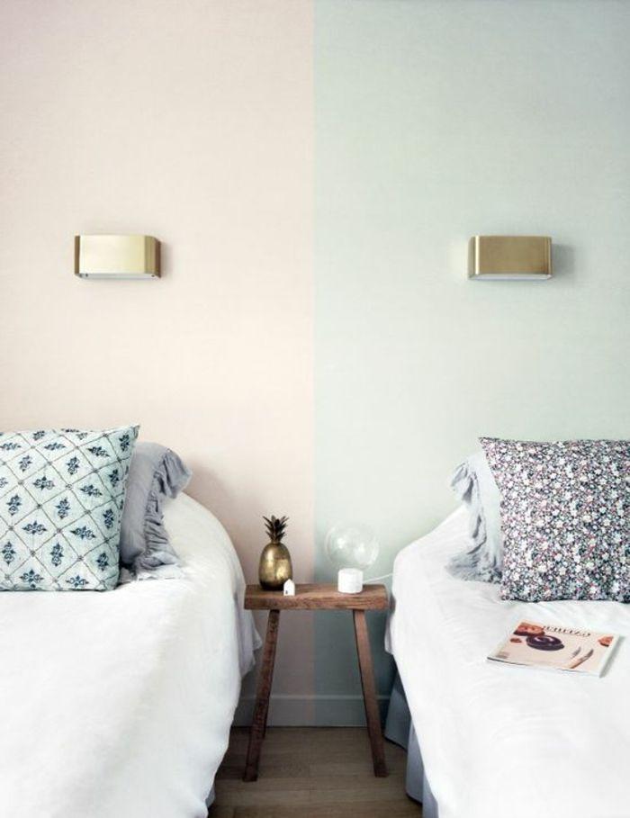 mur double couleur, peindre une pièce en deux couleurs, jolie - Peindre Un Mur Interieur