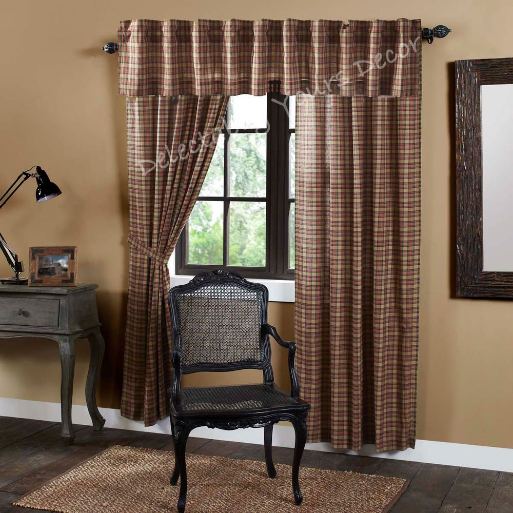 Crosswoods Plaid Country Cabin Lined Curtains Drapes 40x84 w ...