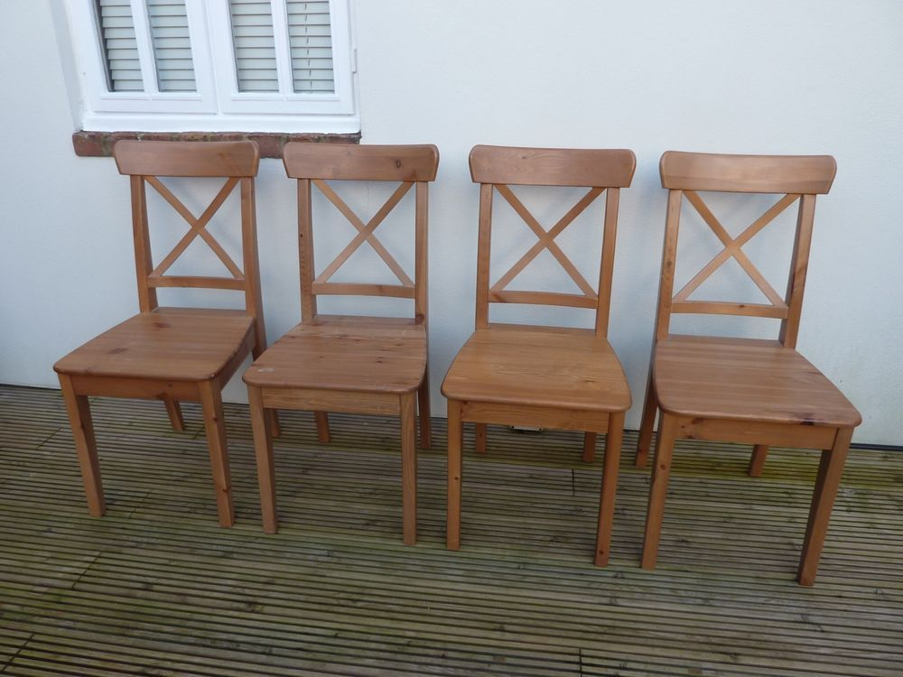 Fabulous Ikea Ingolf Antique Stain Pine Dining Room Chairs X4 Andrewgaddart Wooden Chair Designs For Living Room Andrewgaddartcom