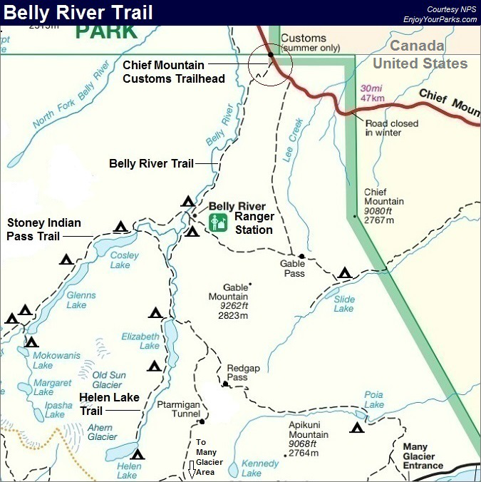 Belly River Trail Map Glacier National Park Map Glacier National