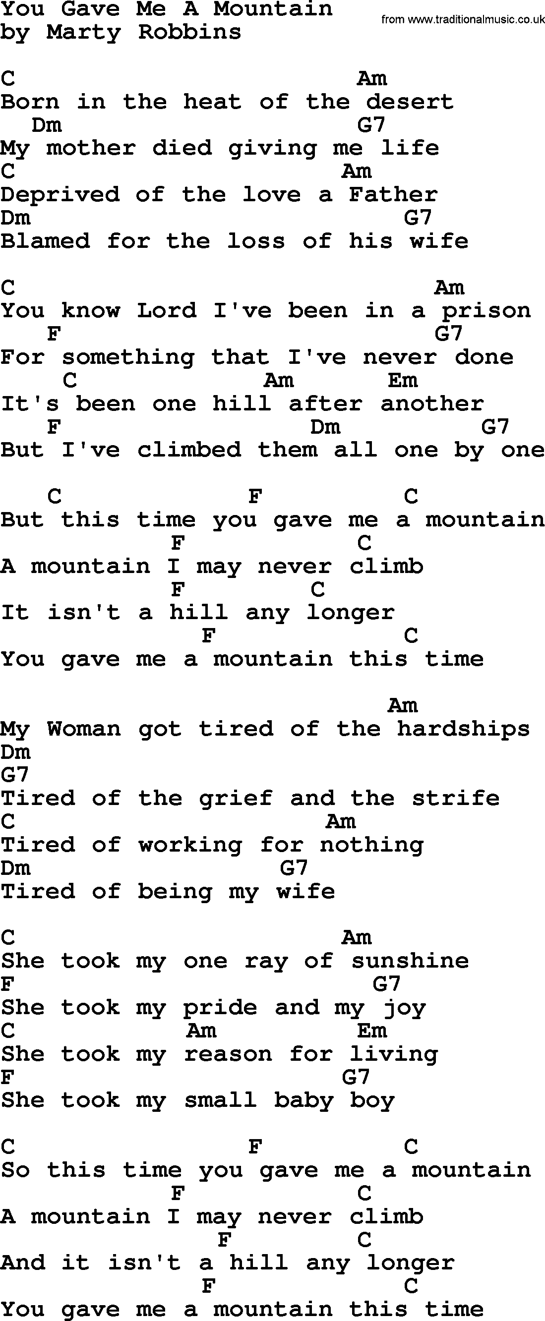 Marty Robbins Song You Gave Me A Mountain Lyrics And Chords Uke