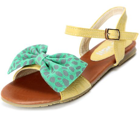 738b2f8a9cea Kvoll Preppy Style Bowtie Design Ankle Strap Yellow PU Flat Sandals.  Slingback SandalSlingbacksLeather ...