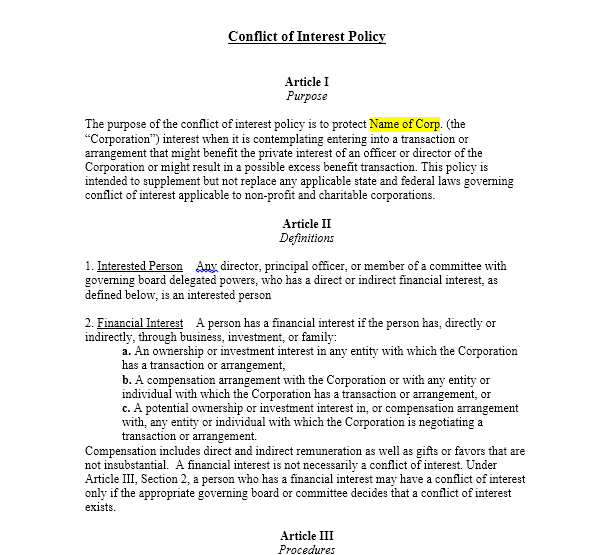 Free Nonprofit Conflict Of Interest Policy Template Sample  Work