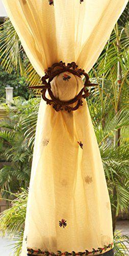 SouvNear Hand Carved Drapery Curtain Holder Tiebacks Holdbacks Drape Binds Handmade Wooden Distressed Brown Vintage Look