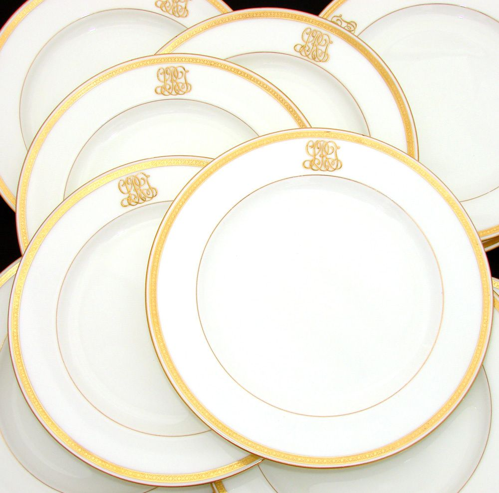 Antique 1911 MINTON 10pc Dinner Plate Set, Ornate Gold Borders U0026 Raised  Gold Monograms