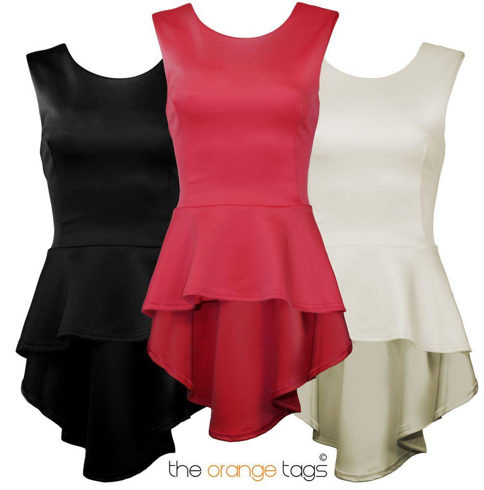 Black t shirt ebay - Ladies High Low Fishtail Sleeveless Skater Dress Womens Peplum Top T Shirt Ebay